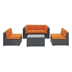 Modway - Camfora 5 Piece Sectional Set in Espresso Orange - Simple and serviceable, the Camfora is a great choice for any backyard. Classically styled furniture crafted out of all weather materials meant to last, this set will please year after year. Enjoy some quality time in the fresh air with the Camfora set.