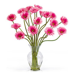 Nearly Natural - Nearly Natural Gerber Daisy Liquid Illusion Silk Flower Arrangement in Pink - Take a look at this Gerber Daisy silk arrangement! Fun, excitement, and color only begin to describe its beauty. Standing 21 inches; tall this exciting piece features eighteen stems of Gerber Daisy's set in a classic glass vase with artificial water. If you are looking to brighten up your home or office decor, well…you've just found a winner. Available in five gorgeous shades: beauty, orange, pink, red, yellow and mixed. Color: Pink, Height: 21 inches.