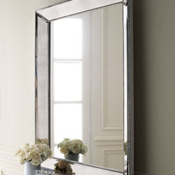 """Horchow - Beaded Mirror - Beveled mirror is embellished with a beaded frame in an antiqued silver finish. Can hang vertically or horizontally. 36.5""""W x 3.5""""D x 48""""T. Imported. Boxed weight, approximately 73 lbs. Please note that this item may require additional delivery and proc..."""