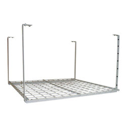 "HyLoft - HyLoft 36"" x 36"" Ceiling Storage Rack - The HyLoft Junior 36 by 36-inch unit is made of strong, durable steel with a scratch resistant finish, and each unit holds up to 150 pounds. The height is adjustable from 16 to 28 inches so you can custom fit it to a variety of spaces, and multiple units can be connected to create a contiguous storage area. The open grate design allows you to see what's stored above. Installation is simple-you can do it by yourself in about 15 minutes."