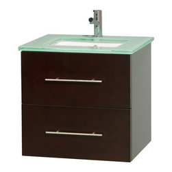 Wyndham Collection - Centra Bathroom Vanity in Espresso,Green Glass Counter,UM Sink,No Mirror - Simplicity and elegance combine in the perfect lines of the Centra vanity by the Wyndham Collection. If cutting-edge contemporary design is your style then the Centra vanity is for you - modern, chic and built to last a lifetime. Available with green glass, pure white man-made stone, ivory marble or white carrera marble counters, with stunning vessel or undermount sink(s) and matching mirror(s). Featuring soft close door hinges, drawer glides, and meticulously finished with brushed chrome hardware. The attention to detail on this beautiful vanity is second to none.
