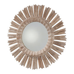 Vendome Hand Carved Solid Wood Mirror - As dramatic as the bedazzling night sky shining above the river Loir, the Vendome Hand Carved Solid Wood Starburst Mirror reflects old-world craftsmanship at its most pure. The whitewash finish accentuates the finely etched details and fringe of each singular spoke. Gently debossed fluting encircles the mirror, lending the piece a vivid presence in a foyer, great room, dining room, or boudoir.