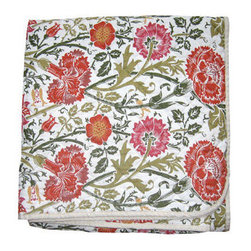 Orange Thistle Printed Quilted Throw - Though it will be chilly, you can pretend you are keeping warm under a palette of spring flowers with this beautiful quilt.