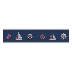 Sweet Jojo Designs - Sweet Jojo Designs Nautical Nights Wall Paper Border - Add a splash of sea faring style to your Sweet Jojo Designs Nautical Nights room. This fun pre-pasted wall paper border adds a colorful, graphic element to your décor.