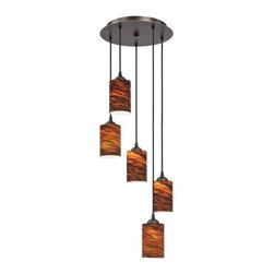 Design Classics Lighting - Modern 5-Light Pendant Light with Brown Art Glass- 580-220 GL1023C - Contemporary / modern neuvelle bronze 5-light mini-pendant light. Includes one bronze three-port ceiling canopy. Each mini-pendant comes with 7-feet of black cuttable cord that allows for custom height adjustability for each pendant. Takes (5) 100-watt incandescent A19 bulb(s). Bulb(s) sold separately. UL listed. Dry location rated.