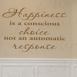 Decals for the Wall - Wall Quote Decal Sticker Vinyl Art Lettering Removable Happiness is a Choice I51 - This decal says ''Happiness is a conscious choice, not an automatic response''