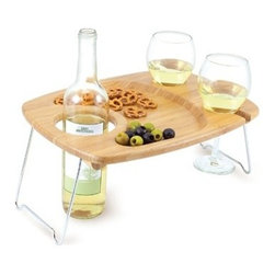 Picnic Time Wine Table for Two, Mesavino - This convenient wine table makes planning a romantic picnic a cinch.