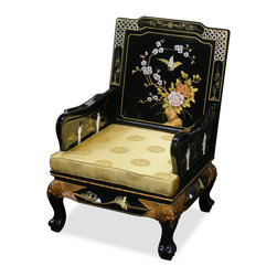 China Furniture and Arts - Hand Painted Grand Imperial Sofa Chair - The majestic presence of this sofa chair is further accentuated with mother of pearl of dancing figures and hand painted floral design decorates the entire chair. The curved legs ending on the tiger-paw feet give a graceful and sturdy look. Hand applied multi layers of shiny black lacquer finish. This sofa chair is as pleasant to look and as comfortable to sit on. Silk cushion included. (Fully assembled.)