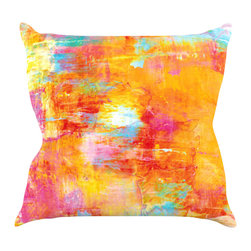 "Kess InHouse - Ebi Emporium ""Off The Grid"" Orange Rainbow Throw Pillow (16"" x 16"") - Rest among the art you love. Transform your hang out room into a hip gallery, that's also comfortable. With this pillow you can create an environment that reflects your unique style. It's amazing what a throw pillow can do to complete a room. (Kess InHouse is not responsible for pillow fighting that may occur as the result of creative stimulation)."