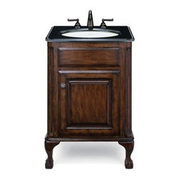 "Cole & Co. - Cole & Co. Custom Collection 25"" Classic/Estate Package, Midnight Black Top and - Cole & Company combines great design with great flexibility, allowing you to mix and match size, finish, and style to create your own perfect bathroom vanity. This traditional chest is made of the finest select alder solids and cherry veneers, distressed and then finished in our old-world finish and completed with antique bronze hardware. The Classic features raised panel ends and hard-carved Queen Anne legs. The Estate features raised panel ends and ball-and-claw legs. Cole & Co. offers a coordinated selection of stone tops, and a wide selection of sinks so you can create your own custom look. All tops are pre-cut for a 14"" x 17"" undermount sink (including the Cole & Co. Hampton sink in biscuit and white porcelain). Available in 25"", 31"" and 37"" widths. Your Cole & Co. quality vanity is a significant investment expected to last for generations. To maintain its beauty and help it last, please refer to the Custom Collection product information sheet and the Care & Cleaning FAQ. Each piece is handmade and finished and actual color may vary. Information regarding the return policy of your Cole & Co. product is available here. If you have any questions, please contact us before ordering. Features: Completely hand made Antique Brown 25""W x 22""D x 35 1/4""H Faucet(s) not included This package includes a Midnight Black Granite Counter and Fairfield White Sink(s) Pre-cut for standard 8"" widespread faucetMinimal assembly required How to handle your counter Natural stone like marble and granite, while otherwise durable, are vulnerable to staining from hair dye, ink, tea, coffee, oily materials such as hand cream or milk, and can be etched by acidic substances such as alcohol and soft drinks. Please protect your countertop and/or sink by avoiding contact with these substances. For more information, please review our ""Marble & Granite Care"" guide."