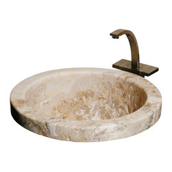 The Allstone Group - BPDMR2 Gold Travertine Honed #002 Bar & Prep Sink - Natural stone strikes a balance between beauty and function. Each design is hand-hewn from 100% natural stone.  Allstone bar and prep sinks are very attractive. Perfect for accenting your bar or prep area. They are also suitable for waste disposal units or basket strainer waste.