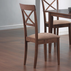 Coaster - Mix and Match Collection Cross Back Walnut Chair in Walnut, Set of 2 - This lovely dining side chair will be a great addition to your casual contemporary dining ensemble. The chair has a high back with an open grid pattern for a distinctive style, above sleek square tapered legs. A padded seat covered in soft deep mocha colored microfiber adds to the comfort and durability of this chair. Pair with a table from this collection for a stylish look that fits your space.