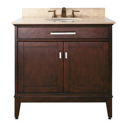 Avanity - Madison Vanity Only - For a strong, classic look in your bathroom, look no further than this structured vanity. Crafted from solid poplar, the choice of finishes is yours: Light Espresso or Tobacco. With old bronze and brushed nickel hardware, this refined vanity is an elegant choice for your bathroom decor.