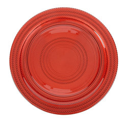 Impulse - IMPULSE! 'Dot' Red Charger 4-piece Plate Set - The Dot Charger is as beautiful as it is functional. It's dishwasher safe and offers up the perfect compliment to your table setting for any occasion.