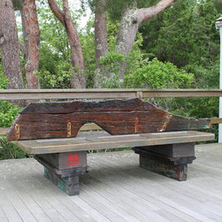 Recent Pieces - This bench was custom-made for the Chatham Chamber of Commerce. We used historical elements with Chatham history including beams from the Chatham Marconi Listening Station, doors salvaged from the Methodist Church and the rudder of a salvaged sailboat.