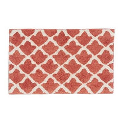 "Marlo Jacquard Bath Rug, 21 x 34"", Coral - A Moroccan tile motif lets our rug mix easily with both patterned and solid towels. It's loomed from cotton for softness, and is slip resistant. 21"" wide x 34"" long Made of 100% cotton. Yarn dyed for vibrant, lasting color. Backed with cotton canvas adhered with synthetic latex. Machine wash. Imported."