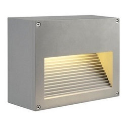 "SLV Lighting - SLV Lighting Theos 103 CFL Outdoor Wall Luminaire - The Theos 103 CFL outdoor wall luminaire was designed in Germany. Suitable for residential and commercial applications. Made of high grade aluminum construction. A truly stunning modern design feature in two finish option silver grey or anthracite. With version in exterior ceiling flush mount, exterior floor lamp and exterior wall sconce. Electronic ballast included.  Product Details: The Theos 103 CFL outdoor wall luminaire was designed in Germany. Suitable for residential and commercial applications. Made of high grade aluminum construction. A truly stunning modern design feature in two finish option silver grey or anthracite. With version in exterior ceiling flush mount, exterior floor lamp and exterior wall sconce. Electronic ballast included. Details:                                     Dimensions:                                     Height Max: 7.7"" (19.55 cm) X Width: 9"" (22.85 cm); Depth: 4.4"" (11.17 cm)                                                     Light bulb:                                     1 X 26W G24q-3 CFL (excl.)                                                     Material:                                     Aluminum                         ETL - listed certified for use in U.S., Canada and all other countries worldwide."