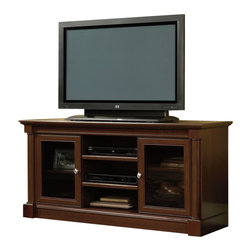Sauder - Sauder Palladia Full Size TV Stand in Cherry Finish - Sauder - TV Stands - 411865 - Combining elements of both traditional and contemporary design the Palladia Collection from Sauder Woodworking is a welcome addition to any home. With a rich Select Cherry finish and half and full round architectural columns Palladia brings you classic traditional warmth.