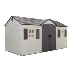Lifetime - Lifetime Side-entry Shed - Organize your tools,garden items,and equipment in style with this durable plastic lifetime shed. This side-entry shed includes gable vents,skylights,and two windows for style and practicality. No painting is required for this white shed.