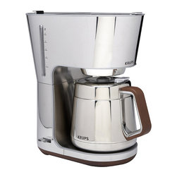 Frontgate - Krups Silver Art Coffee Machine - Automatic and manual shut-off. Stainless steel. Wood finish on handle and base. 2-1/2 ft. cord; 120V. The Krups Silver Art Coffee Machine percolates the perfect cup while also complementing your upscale kitchen decor. The coffee machine has a 10-cup thermal carafe that keeps coffee warm for hours, easy-to-read water level indicators, and anti-drip function.  .  . .  .
