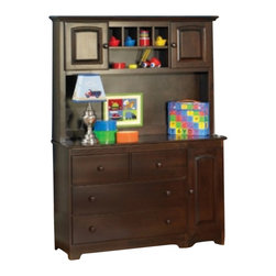 Atlantic Furniture - Atlantic Furniture Windsor Changing Table and Hutch in Antique Walnut - Atlantic Furniture - Baby Changing Tables - 6914469814KIT - This changing table with hutch offers massive storage with deep drawers below and a large cabinet. Above in the hutch is even more storage. Large work top area for easy use.Features: