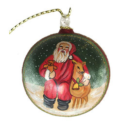 """Santa With A Deer"" Glass Christmas Ball Ornament - ""Santa With A Deer"" Glass Christmas Ball Ornament is 4"" (100 mm) in diameter. Its created in keeping with the age old family traditions. Each ornament is painted individually, which makes them unique and adds some small variations to each product. Made in Austria."
