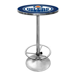 Trademark Global - Round Pub Table w NHL Edmonton Oilers Logo Ta - A protective acrylic top makes this Edmonton Oilers pub table a durable addition to any game room or bar area décor. The table has a wood top with the officially licensed full color team logo and a steel base with a round foot ring and a durable chrome tone finish. Great for gifts and recreation decor. 0.125 in. Scratch resistant UV protective acrylic top. Full color printed logo is protected by the acrylic top. Table top is trimmed with chrome plated banding. 1 in. Thick solid wood table top. Chrome base with foot rest and adjustable levelers. 28 in. L x 28 in. W x 42 in. H (72 lbs.)This National Hockey League officially licensed pub table is the perfect for your game room on Hockey Night.