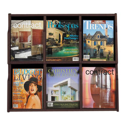 Safco - Safco Expose 6 Magazine 12 Pamphlet in Mahogany Finish - Safco - Magazine Racks - 5703MH - Expose™ natural beauty and aid curiosity! Customize any unit with your choice of two wood finishes. Crystal clear plastic front panel provides a full view of materials in each pocket. Pre-drilled holes screws and anchors included for easy mounting. Decorative screw covers to match masonite backing are included. Removable dividers allow you to use each compartment to display a magazine or two pamphlets. Spark a natural instinct with exposure.