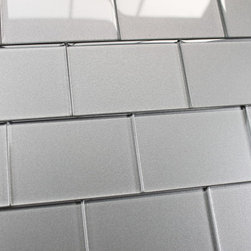 Elements Platinum 4x6 Glass Subway Tiles, 10 Square Feet - A silvery 4x6 glass subway tile with subtle color variation from tile to tile. Arrange them in the pattern of your choice. These one of a kind glass subway tiles have a textured painted backing that ads a touch of character without overpowering a room. Elements is available here on Houzz in 6 great color options in both 4x6 and 2x12 formats.