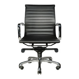 Wobi Office - Wobi Robin Lowback, Black - A classic silhouette, the Robin Series is beautiful, simple and affordable. The Robin Highback is slim, lightweight and durable, featuring clean upholstery details and a polished chrome frame and base. With its pneumatic height adjustment and advanced knee-tilt mechanism, the Robin Highback Chair offers a comfortable ergonomic experience that works well at the desk or in the conference room.
