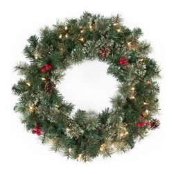 East West Basics (HK) Ltd - 24 in. Classic Pine Pre-lit Wreath with Berries and Pine Cones Multicolor - MIS9 - Shop for Holiday Ornaments and Decor from Hayneedle.com! The 24 in. Classic Pine Pre-lit Wreath with Berries and Pine Cones has the classic warmth of a crackling fireplace. This 24-inch wreath is perfect for any room hallway entryway or your front door. Thirty-five pre-strung glowing clear lights eliminate the need for messy wires making it easy to light up any room in your home.