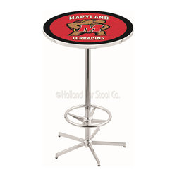 Holland Bar Stool - Holland Bar Stool L216 - 42 Inch Chrome Maryland Pub Table - L216 - 42 Inch Chrome Maryland Pub Table  belongs to College Collection by Holland Bar Stool Made for the ultimate sports fan, impress your buddies with this knockout from Holland Bar Stool. This L216 Maryland table with retro inspried base provides a quality piece to for your Man Cave. You can't find a higher quality logo table on the market. The plating grade steel used to build the frame ensures it will withstand the abuse of the rowdiest of friends for years to come. The structure is triple chrome plated to ensure a rich, sleek, long lasting finish. If you're finishing your bar or game room, do it right with a table from Holland Bar Stool.  Pub Table (1)