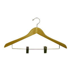 Proman Products - Proman Products Gemini Concave Suit Hanger with Wire Clips in Natural Lacquer - Gemini-concave suit hanger with Wire clips, 44.5Lx 1.2Tcm, natural lacquer, chrome, 50Pcs/ctn