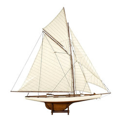 Authentic Models - 1901 America's Cup Columbia Model Yacht - The model is built plank-on-frame and all have cotton hand stitched sails, brass hardware and table stands. Wall brackets not included. Made of Wood, and Cotton. Assembly Instructions. 45.1 in. W x 7.1 in. D x 46.7 in. H1900s racer Columbia. Hotel lobby size. Strong and commanding presence at relatively low cost. Classic sailing ship lines, historic America Cup racer. Attention to detail has earned world leadership in sailing ship model reproductions.