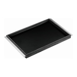 """Carl Mertens - Carl Mertens Walnut and Black Linoleum Minamoto Serving Tray - Features: -Carl Mertens Collection. -Combination of walnut and black linoleum. -Stainless steel handles. -Overall dimensions : 21"""" W x 14"""" D."""