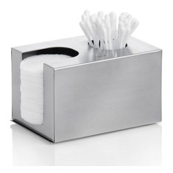 """Blomus - Nexio Dispenser for Cotton Buds - Matte - """"A Place for Everything and Everything in its Place"""" is more than a simple saying. And your best tool to stop the countertop sprawl of beauty supplies in the bathroom resides in this one handsome stainless steel dispenser."""