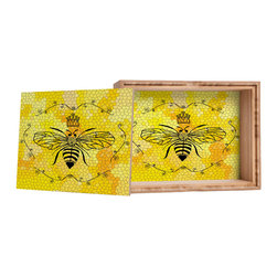 DENY Designs - Lisa Argyropoulos Queen Bee Storage Box - Love yourself a knickknack or two (or three)? Well, then this is the box for you! The Amber Bamboo wooden Storage Box is available in two sizes with a printed exterior lid and interior bottom. So, you can still be a collector of sorts, but now you've got an organized home for it all. 100% sustainable, eco-friendly flat grain amber bamboo wood box with printed glossy exterior lid and interior bottom. Custom made in the USA for every order.