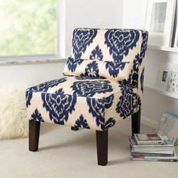 Armless Upholstered Chair, Blue/White Ikat - The classic combination of blue and white gets a fun update in this ikat chair. We could see two of these flanking a fireplace or completing a conversation area.