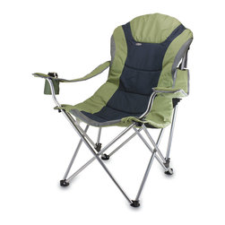 Picnic Time - Reclining Camp Chair - Sage Green and Dark Gray - The Reclining Camp Chair is no ordinary camp chair. It features a folding steel frame that can hold up to 300 lbs., padded seat and back rest covered in durable 600D polyester canvas, 3 seating positions, adjustable armrests, an insulated drink holder in the right armrest, a large zippered pocket on back of chair, and a matching storage tote with carrying strap. The Reclining Camp Chair is great as a spectator chair at sporting events or for outdoor activities such as lounging by the lake or beach, camping and fishing. But consider yourself warned..once you sit in this chair, you may never want to leave it!