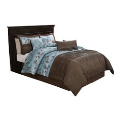 Pem America - Chocolate Aqua Pleat King Comforter Set with 4 Bonus Pillows - Chocolate Aqua Pleat comforter set is pieced from jacquard woven cloth and features pleated highlights. Bring a soft touch of a floral leafy vine in a jacquard woven fabric on an aqua blue base into your bedroom to give you a sense of peace and quiet.  Th