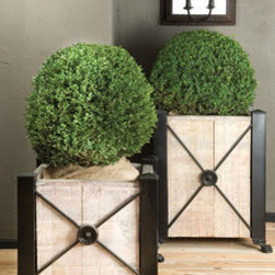 Outdoor Accessories - 2 sizes; wonderful for patios and entry ways.  Planters can accomodate large shrubs or medium size trees.  Flowering trees, e.g. flowering cherry, are especially wonderful, simple and elegant.  Adding annual color plantings to the base of the tree is a great way to keep color Spring and Summer.