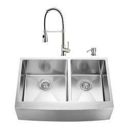 "VIGO Industries - VIGO All in One 33-inch Farmhouse Stainless Steel Double Bowl Kitchen Sink and F - Enhance the look of your kitchen with a VIGO All in One Kitchen Set featuring a 33"" Farmhouse - Apron Front sink, faucet, soap dispenser, two matching bottom grids and two strainers."