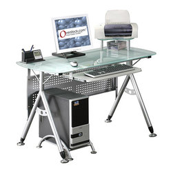 None - Ergonomic Tempered Glass-top Computer Desk - You'll be working in style with this ergonomic computer desk. The contemporary styling is fully functional, with a scratch-resistant steel frame. A shelf provides room for accessories, and the tempered glass top is both attractive and durable.