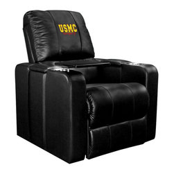 Dreamseat Inc. - US Marines Semper Fi Home Theater Plus Leather Recliner - Check out this awesome Leather Recliner. Quite simply, it's one of the coolest things we've ever seen. This is unbelievably comfortable - once you're in it, you won't want to get up. Features a zip-in-zip-out logo panel embroidered with 70,000 stitches. Converts from a solid color to custom-logo furniture in seconds - perfect for a shared or multi-purpose room. Root for several teams? Simply swap the panels out when the seasons change. This is a true statement piece that is perfect for your Man Cave, Game Room, basement or garage. It combines contemporary design with the ultimate comfort from a fully reclining frame with lumbar and full leg support.
