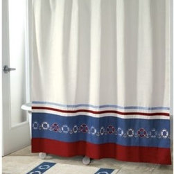 Avanti - Avanti Life Preservers II 70-Inch x 72-Inch Shower Curtain - This curtain features beautifully embroidered Life Preserver icons and anchors, complete in navy and red across the bottom of the curtain.