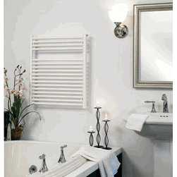 Towel Warmer outlet - The Runtal Radia provides simple elegance with excellent performance. It is available in three electric and three hydronic versions. Electric models are available in either direct wire or plug-in versions and have Runtal's exclusive soft touch five setting (off/lo/med/hi/timer on hi for 3 hours) digital control. Both bottom and rear piping are offered on hydronic models. As well as for bathrooms, the Radia is very popular for use in laundry rooms.