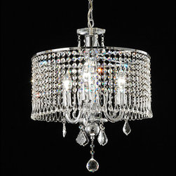 None - Contemporary 3-light Crystal Chandelier - Illuminate your home with this elegant three-light crystal chandelier with a metal frame. This beautiful chandelier features exquisite crystals and a chrome finish. With 40 inches of chain included, the fixture can be customized to any length drop.