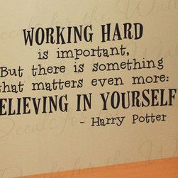 Decals for the Wall - Wall Decal Quote Vinyl Sticker Art Lettering Graphic Harry Potter Work Hard G08 - This decal says ''Working hard is important, but there is something that matters even more: Believing in yourself - Harry Potter''