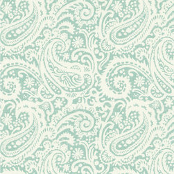 "Ballard Designs - Audrey Spa Fabric by the Yard - Content: 100% Cotton. Repeat: Non-railroaded fabric with 3 1/2"" repeat. Care: Dry Clean. Width: 54"" wide. Off-white and spa paisley printed on thick, linen-like cotton. . . . . Because fabrics are available in whole-yard increments only, please round your yardage up to the next whole number if your project calls for fractions of a yard. To order fabric for Ballard Customer's-Own-Material (COM) items, please refer to the order instructions provided for each product. Ballard offers free fabric swatches: $5.95 Shipping and Processing, ten swatch maximum. Sorry, cut fabric is non-returnable."