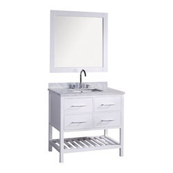 "Belvedere - 30"" London White Bathroom Vanity with Marble Top & Mirror - *faucet pictured seperately is optional for FREE"